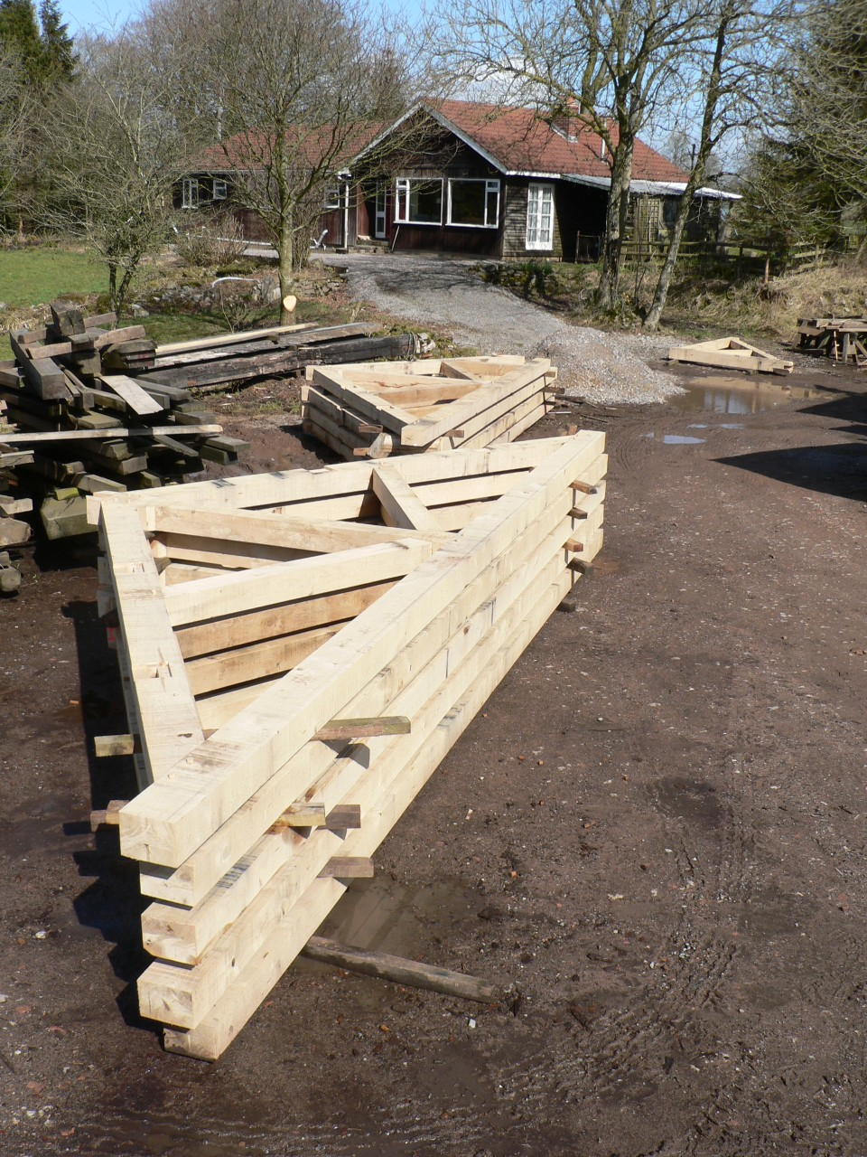 Oak Roof Trusses ready for delivery