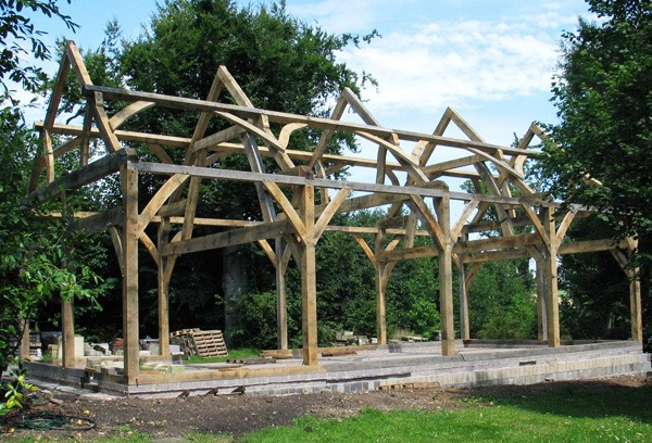 Oak Frame Building - Designed by David Simmonds Partner B. Eng (hons) @ Interesting Timbers & manufactured by Interesting Timbers at our Emborough Yard