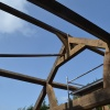 Oak Trusses going up,July 2015,design & manufacture by Interesting Timbers