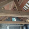 Boarding out ready for sandblasting the Oak Roof, design & manufacture by Interesting Timbers